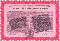 New York Central Railroad Company $1,725,000 Gold Bond (Gold bond disclaimer legend stamp)- High Denomination 1938