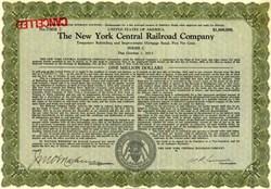 New York Central Railroad Company $1,000,000 Bond - United States 1921
