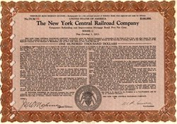 New York Central Railroad Company $100,000 Bond - United States 1932