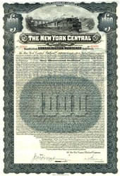 New York Central Railroad Company Uncancelled $1000 Gold Bond - New York  1913