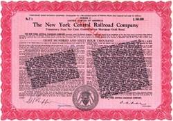 New York Central Railroad Company $864,000 Bond - United States 1913