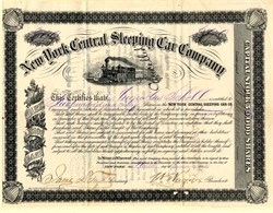 New York Central Sleeping Car Company issued to Augustus Schell - New York 1882