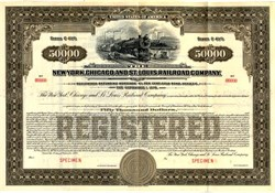 New York, Chicago, and St. Louis Railroad Company $50,000 Gold Bond (Nickel Plate Railroad )  - New York 1928