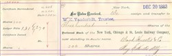 New York, Chicago & St. Louis Railway Company (Transfer to W. K. Vanderbilt, Trustee )  - New York 1883