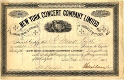 New York Concert Company Limited ( Built Casino Theatre first NY playhouse designed specifically for Broadway musicals) signed by Rudolph Aronson- New York 1882