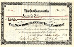New York Electric Time Company - New York 1885