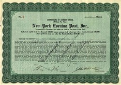 New York Evening Post, Inc. signed by John Charles Martin - New York 1926