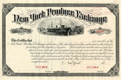 New York Produce Exchange Membership Certificate - New York