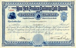New York Produce Exchange Safe Deposit and Storage Company - New York 1937