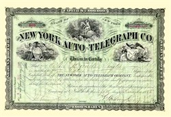 New York Auto-Telegraph Company Stock signed by Alonzo B  Cornel (Cornell University namesake) - 1885