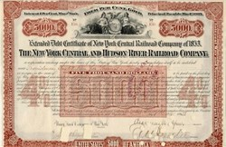 New York Central and Hudson River Railroad $5,000 bond signed by Chancey Depew