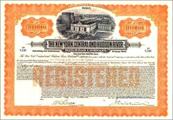 New York Central and Hudson River Railroad Company 1913 - 100 Year $10,000 Bond