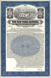New York Central Railroad Company 92 Year Bond 1921 - Grand Central Station Vignette - 50 Coupons