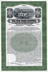New York Central Railroad Company $1000 100 Year Bond - Grand Central Station Vignette - 1913