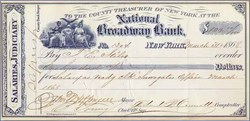 New York Governor and Mayor John T. Hoffman Signed Check 1868