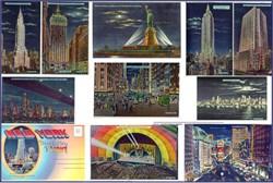 New York Magic City of Light Multi View Folding Postcard - 1940's