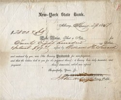 New York State Bank Notice of Protest - Albany 1851