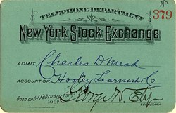 New York Stock Exchange Telephone Department Ticket - 1907