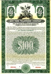 New York Telephone Company (Became NYNEX)  Gold Bond  - 1919