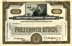 New York Telephone Company (Early operator holding telephone lines vignette ) - New York  1922