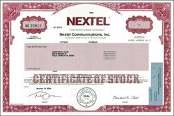 Nextel Communications, Inc. (Last Stock Certificate - Now Sprint ) - 2002