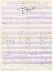 """Never Feel Too Weary To Pray"" Meredith Wilson (Music Man Composer)  Signed Sheet Music - 1941"