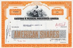 Electric & Musical Industries Limited Company (EMI Records) issued to DLJ - 1970