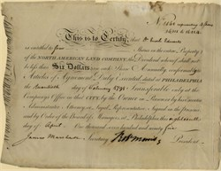 North American Land Company (First U. S. Real Estate Bubble Disaster) signed by Robert Morris (Signer of the Declaration of Independence) - Philadelphia, Pennsylvania 1795