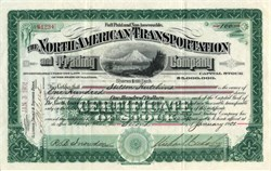 North American Transportation and Trading Company (Klondike Gold Rush) issued to Stilson Hutchins (Washington Post Founder) - Illinois 1901