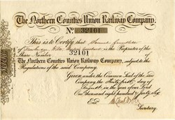 Northern Counties Union Railway Company -  England 1846
