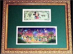 Disneyworld 2000 Dollar & Disney Characters - Framed