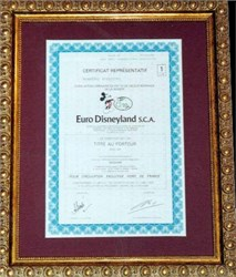 Euro Disneyland Stock Certificate - Framed