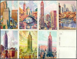 New York Building Postcards by Marcus A. Van Der Hope 1940's - 7 card set