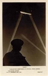 """WWl Zepplin Photo Postcard - Night with Searchlights """"Zepp"""""""