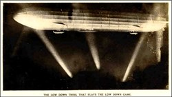 Early WWl Zepplin Photo Postcard - The Low Down Thing That Plays the Low Down Game