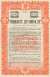 Virginia Hotel Corporation Gold Bond - Nevada 1931