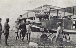 WW l Photo Postcard - General Joffre inspecting a German Albatriss Plane Just Downed