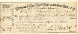Norwich & New York Transportation Company - Connecticut 1888