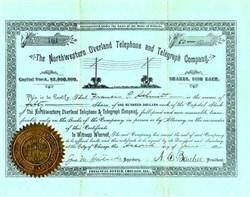 Northwestern Overland Telephone and Telegraph Company - Illinois 1884