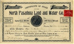 North Pasadena Land and Water Company - 1900