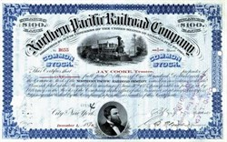 Northern Pacific Railroad Company - 1876 signed by Jay Cooke