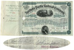 Northern Pacific Railroad Company stock certificate issued to and signed by John D. Rockefeller - 1884