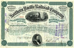Northern Pacific Railroad Company signed by Robber Baron, E. H. Harriman - 1885