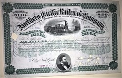 Northern Pacific Railroad Company signed by J.P.Morgan and Fredrick Billings - New York 1881