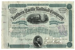 Northern Pacific Railroad Company Stock Issued To August Belmont & Co. And Signed On Verso By August Belmont 1883, New York.