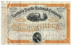Northern Pacific Railroad Stock Issued To And Signed On Verso By James C. Fargo - 1882
