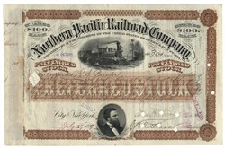 Northern Pacific Railroad Stock Issued To And Signed By Jules Bache (founder of Bache & Co.) - New York 1889