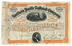 Northern Pacific RR Stock Issued To And Signed By William Rockefeller 1884, New York