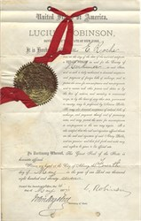 Remington Arms Company British agent's appointment signed by Eliphalet Remington and New York Governor, Lucius Robinson  - 1877