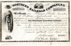 Northern Railroad Company (Early Railroad Stock Certificate) - New York  1849
